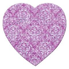 Damask1 White Marble & Purple Glitter Jigsaw Puzzle (heart) by trendistuff