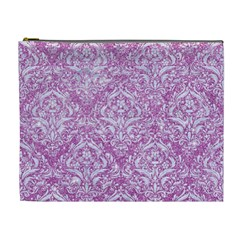 Damask1 White Marble & Purple Glitter Cosmetic Bag (xl) by trendistuff