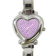 Circles3 White Marble & Purple Glitter (r) Heart Italian Charm Watch