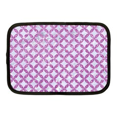 Circles3 White Marble & Purple Glitter (r) Netbook Case (medium)