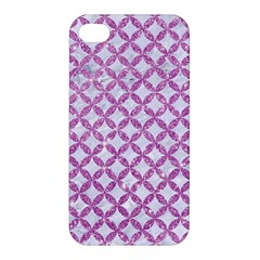 Circles3 White Marble & Purple Glitter (r) Apple Iphone 4/4s Hardshell Case