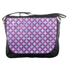 Circles3 White Marble & Purple Glitter (r) Messenger Bags