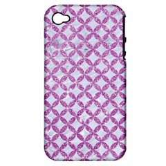 Circles3 White Marble & Purple Glitter (r) Apple Iphone 4/4s Hardshell Case (pc+silicone)