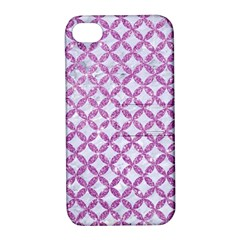Circles3 White Marble & Purple Glitter (r) Apple Iphone 4/4s Hardshell Case With Stand