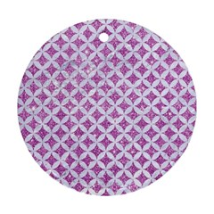 Circles3 White Marble & Purple Glitter Ornament (round) by trendistuff