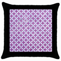 Circles3 White Marble & Purple Glitter Throw Pillow Case (black)
