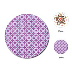 Circles3 White Marble & Purple Glitter Playing Cards (round)