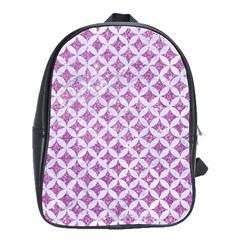 Circles3 White Marble & Purple Glitter School Bag (large)