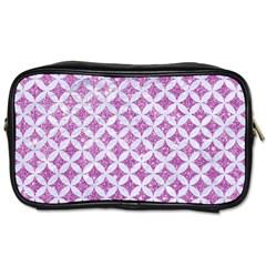Circles3 White Marble & Purple Glitter Toiletries Bags