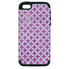 Circles3 White Marble & Purple Glitter Apple Iphone 5 Hardshell Case (pc+silicone)