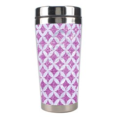 Circles3 White Marble & Purple Glitter Stainless Steel Travel Tumblers
