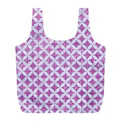Circles3 White Marble & Purple Glitter Full Print Recycle Bags (l)