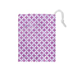 Circles3 White Marble & Purple Glitter Drawstring Pouches (medium)