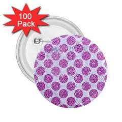 Circles2 White Marble & Purple Glitter (r) 2 25  Buttons (100 Pack)