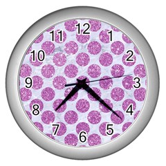 Circles2 White Marble & Purple Glitter (r) Wall Clocks (silver)
