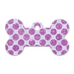 Circles2 White Marble & Purple Glitter (r) Dog Tag Bone (two Sides)