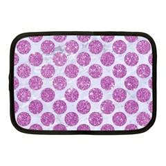 Circles2 White Marble & Purple Glitter (r) Netbook Case (medium)