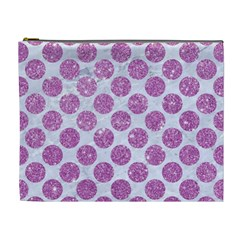 Circles2 White Marble & Purple Glitter (r) Cosmetic Bag (xl)