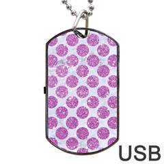 Circles2 White Marble & Purple Glitter (r) Dog Tag Usb Flash (two Sides) by trendistuff