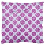 CIRCLES2 WHITE MARBLE & PURPLE GLITTER (R) Large Cushion Case (One Side) Front