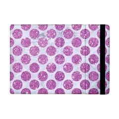 Circles2 White Marble & Purple Glitter (r) Apple Ipad Mini Flip Case