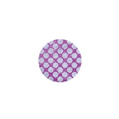 Circles2 White Marble & Purple Glitter 1  Mini Magnets