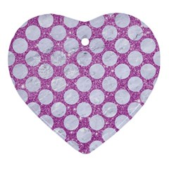 Circles2 White Marble & Purple Glitter Ornament (heart)