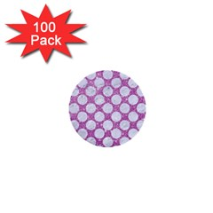 Circles2 White Marble & Purple Glitter 1  Mini Buttons (100 Pack)