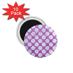 Circles2 White Marble & Purple Glitter 1 75  Magnets (10 Pack)
