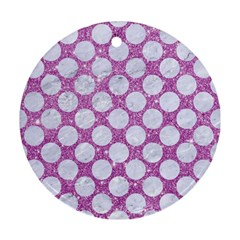 Circles2 White Marble & Purple Glitter Round Ornament (two Sides)