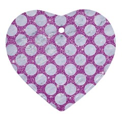Circles2 White Marble & Purple Glitter Heart Ornament (two Sides)