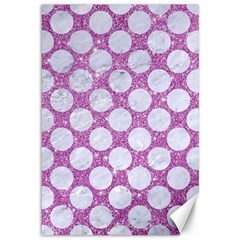 Circles2 White Marble & Purple Glitter Canvas 12  X 18