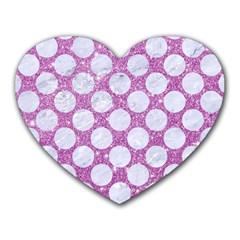 Circles2 White Marble & Purple Glitter Heart Mousepads