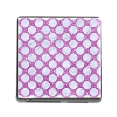 Circles2 White Marble & Purple Glitter Memory Card Reader (square)