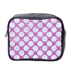 Circles2 White Marble & Purple Glitter Mini Toiletries Bag 2 Side