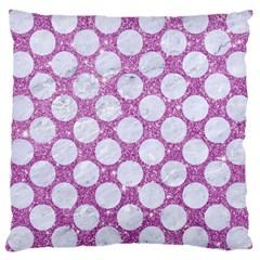 Circles2 White Marble & Purple Glitter Large Cushion Case (one Side)