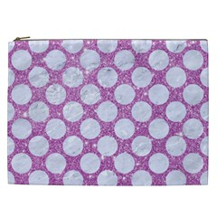 Circles2 White Marble & Purple Glitter Cosmetic Bag (xxl)