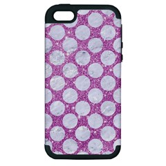 Circles2 White Marble & Purple Glitter Apple Iphone 5 Hardshell Case (pc+silicone)