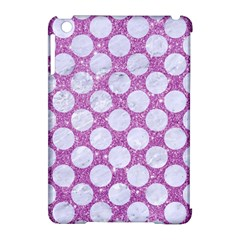 Circles2 White Marble & Purple Glitter Apple Ipad Mini Hardshell Case (compatible With Smart Cover)