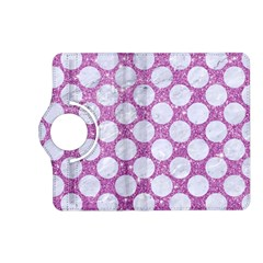 Circles2 White Marble & Purple Glitter Kindle Fire Hd (2013) Flip 360 Case