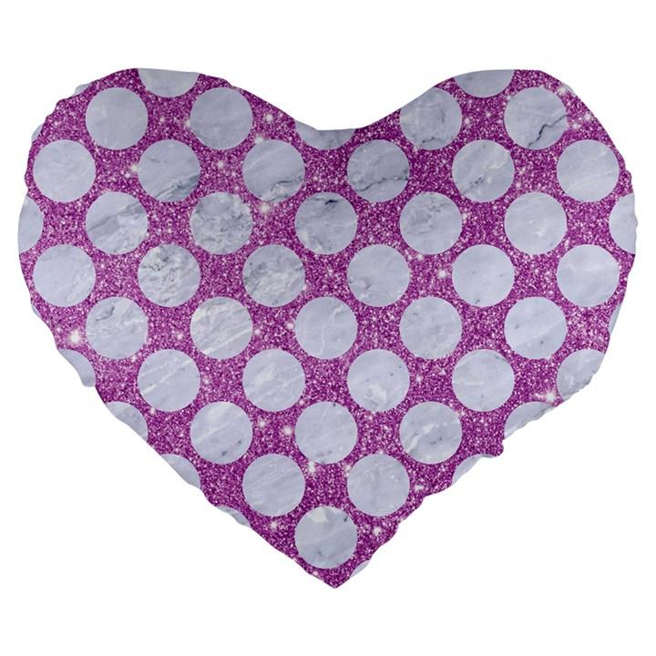 CIRCLES2 WHITE MARBLE & PURPLE GLITTER Large 19  Premium Flano Heart Shape Cushions