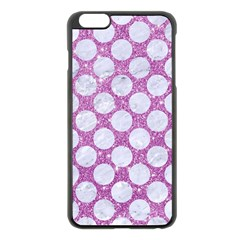 Circles2 White Marble & Purple Glitter Apple Iphone 6 Plus/6s Plus Black Enamel Case