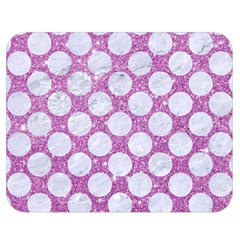 Circles2 White Marble & Purple Glitter Double Sided Flano Blanket (medium)