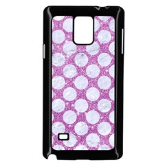 Circles2 White Marble & Purple Glitter Samsung Galaxy Note 4 Case (black)