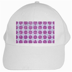 Circles1 White Marble & Purple Glitter (r) White Cap