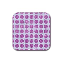 Circles1 White Marble & Purple Glitter (r) Rubber Square Coaster (4 Pack)
