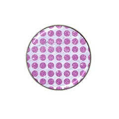 Circles1 White Marble & Purple Glitter (r) Hat Clip Ball Marker (4 Pack)