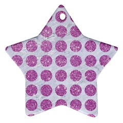 Circles1 White Marble & Purple Glitter (r) Star Ornament (two Sides)