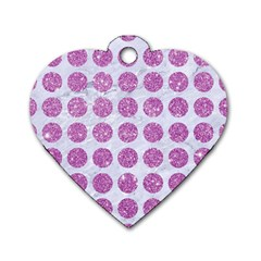 Circles1 White Marble & Purple Glitter (r) Dog Tag Heart (one Side)