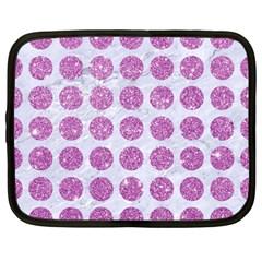 Circles1 White Marble & Purple Glitter (r) Netbook Case (large)